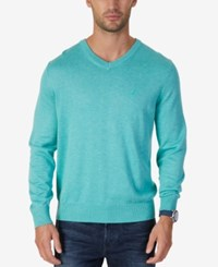 Nautica Men's Classic Fit V Neck Sweater Mint Jade Heather