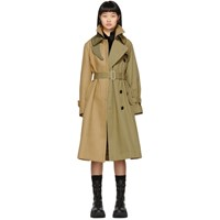 Sacai Beige Melton Cotton Trench Coat