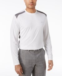 Greg Norman For Tasso Elba Men's Pieced Performance Long Sleeve T Shirt Only At Macy's Bright White