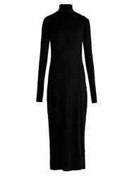 Raey Roll Neck Ribbed Fine Knit Cashmere Dress Black