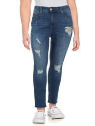 Melissa Mccarthy Seven7 Plus Ripped Skinny Jeans Blue