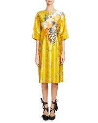 Dries Van Noten Denali Floral Print Satin Dress Yellow