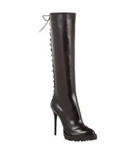 Alexander Mcqueen Twisted Leather Boot Black