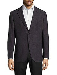 Saks Fifth Avenue Made In Italy Modern Fit Wool And Linen Check Jacket Grey