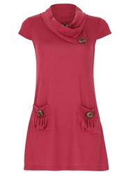 Izabel London Tunic Top With Oversized Buttons Purple
