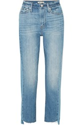 Madewell The Perfect Summer Frayed High Rise Straight Leg Jeans Mid Denim
