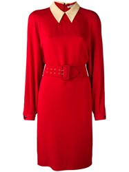 Christian Dior Vintage Belted Dress Red
