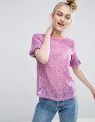 Asos T Shirt In Lace With Ruffle Sleeve And Stripe Tipping Lilac Purple