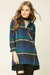 Forever 21 Plaid Flannel Shirt Royal Green