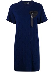 Love Moschino Short Sleeve Fitted Dress Blue