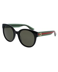 Gucci Glittered Monochromatic Round Sunglasses Black Green Red