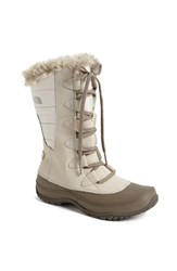 The North Face Women's 'Nuptse Purna' Waterproof Primaloft Eco Insulated Winter Boot Ivory Beige