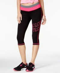 Material Girl Active Juniors' Foldover Waist Graphic Cropped Leggings Only At Macy's Classic Black