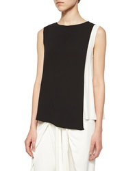 Alexis Sleeveless Bi Color Top Black White