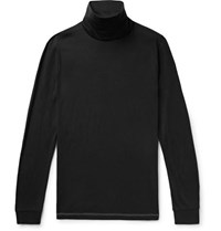 Theory Slim Fit Cotton And Cashmere Blend Rollneck T Shirt Black