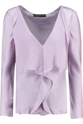 Maria Grachvogel Nephele Draped Silk Satin Top Purple