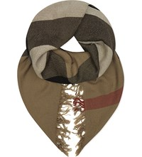 Burberry House Check Merino Wool Scarf Camel House Check