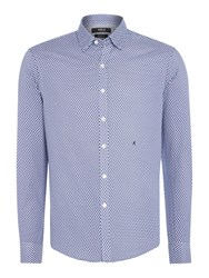 Replay Men's All Over Print Cotton Shirt Blue