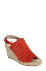 Caslonr Women's Caslon 'Sutton' Slingback Mule Red Perferated Suede