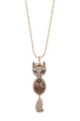 Betsey Johnson Fox Long Pendant Necklace No Color