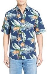 Men's Tommy Bahama 'Cool Palm And Collected' Print Short Sleeve Silk Camp Shirt Dress Blue