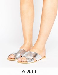 Asos Florist Wide Fit Leather Cross Strap Sliders Silver