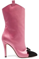 Alessandra Rich Bow Embellished Two Tone Satin Ankle Boots Baby Pink
