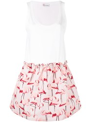 Red Valentino Flamingo Print Dress Women Cotton Polyester S White