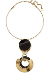 Marni Gold Plated Resin And Textured Leather Necklace One Size