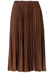 Gig Midi Knitted Skirt Women Polyester Viscose M Brown