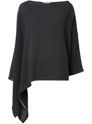 Dusan Asymmetric Poncho Top Black