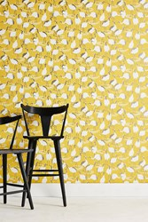 Dwellstudio Cranes Wallpaper Dark Yellow