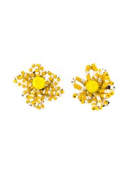 Christian Lacroix Vintage Pearl Flower Earrings Yellow And Orange