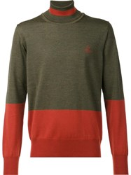 Vivienne Westwood Man Two Tone Rollneck Jumper Green