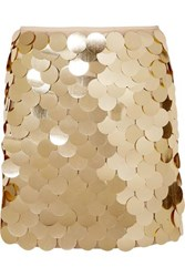 Sara Battaglia Sequined Tulle Mini Skirt Gold