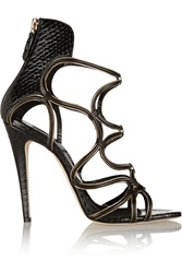 Brian Atwood Chain Trimmed Elaphe And Suede Sandals
