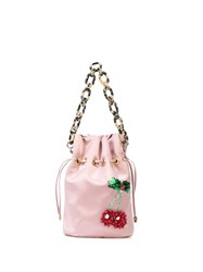 Edie Parker Cherry Drawstring Bag Pink