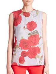 Giambattista Valli Sleeveless Floral Print Silk Blouse Pale Blue Rose