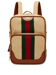 Gucci Web Stripe Canvas And Leather Backpack Cream Multi