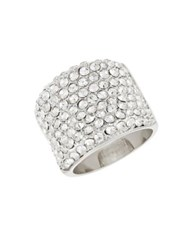 Michela Pave Encrusted Band Ring Silver