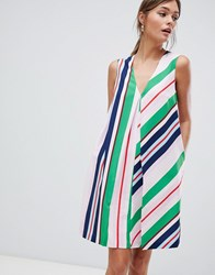 Ted Baker Tunic Dress In Bay Of Honour Stripe Pl Pink Multi