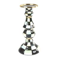 Mackenzie Childs Courtly Check Enamel Pillar Candlestick Black And White