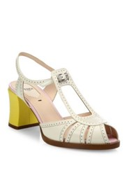 Fendi Chameleon Leather T Strap Sandals White Yellow