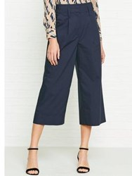 Whistles Petra Poplin Cropped Trousers Navy