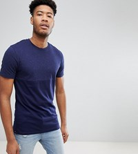 Selected Homme Tall T Shirt In Marl Stretch Cotton Maritime Blue Navy