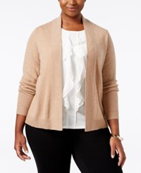 Charter Club Plus Size Cashmere Open Front Cardigan Only At Macy's Heather Camel