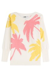 Claudia Schiffer For Tse Cotton Cashmere Silk Pullover With Batwing Sleeves Multicolor