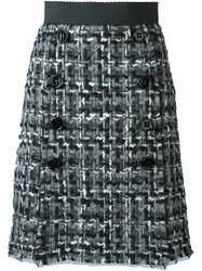 Dolce And Gabbana Boucle' Knit Skirt Grey