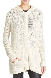 Women's Atm Anthony Thomas Melillo Hooded Sweater Coat Cream