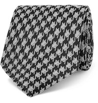 Tom Ford 8Cm Dogtooth Silk And Linen Blend Tie Black